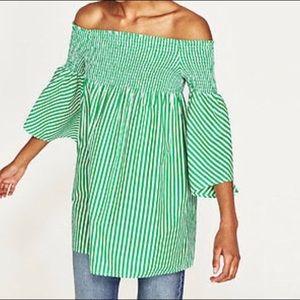 Zara Mini Off Shoulder Dress Green White NWT XS